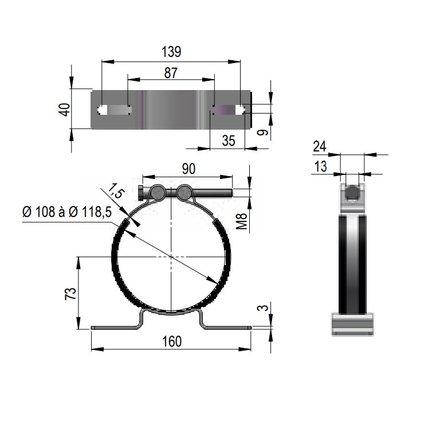 Collier de fixation pour accumulateur dia. 115 Hydro Leduc 254021  2